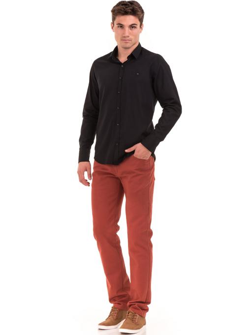 Класическа мъжка едноцветна риза AVVA 2106 - черна C