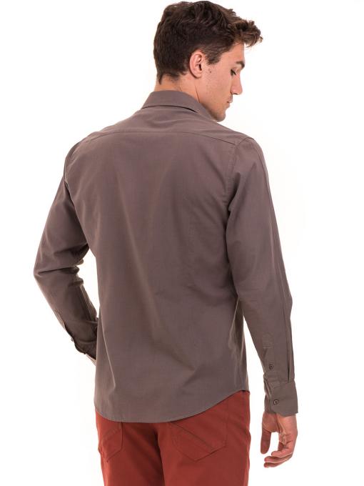 Класическа мъжка едноцветна риза AVVA 2106 - цвят капучино B