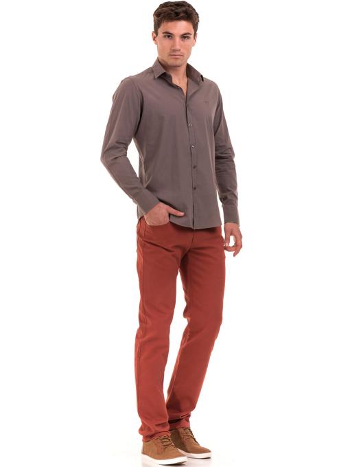 Класическа мъжка едноцветна риза AVVA 2106 - цвят капучино C