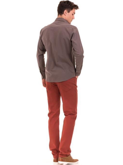 Класическа мъжка едноцветна риза AVVA 2106 - цвят капучино E