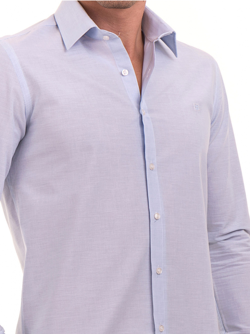 Мъжка памучна риза AVVA 2196 - светло синя D