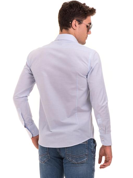 Мъжка памучна риза AVVA 2196 - светло синя B