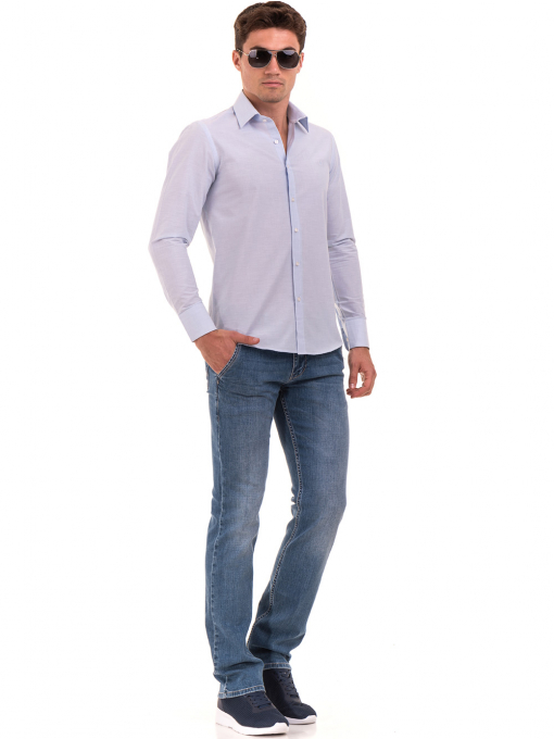 Мъжка памучна риза AVVA 2196 - светло синя C
