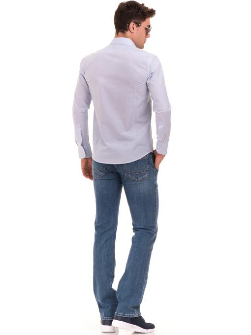 Мъжка памучна риза AVVA 2196 - светло синя E