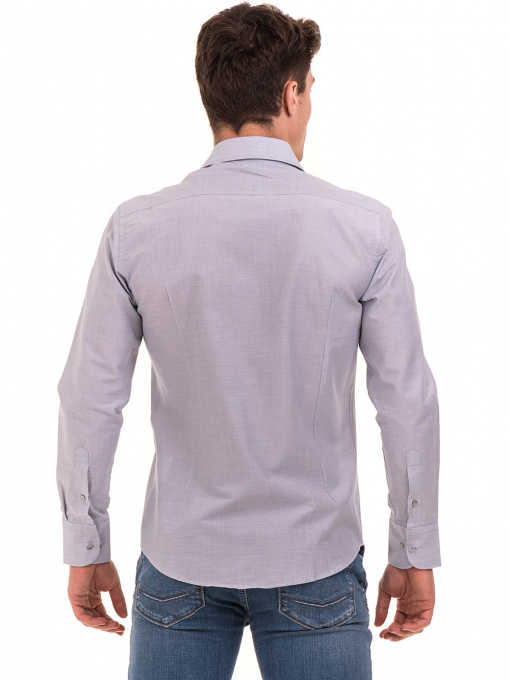 Мъжка риза AVVA с дълъг ръкав 2233 - светло сива B