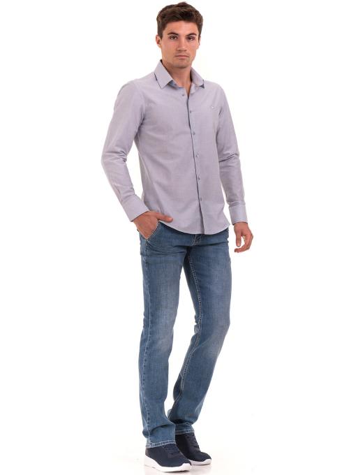 Мъжка риза AVVA с дълъг ръкав 2233 - светло сива C