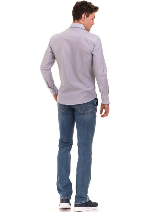 Мъжка риза AVVA с дълъг ръкав 2233 - светло сива E