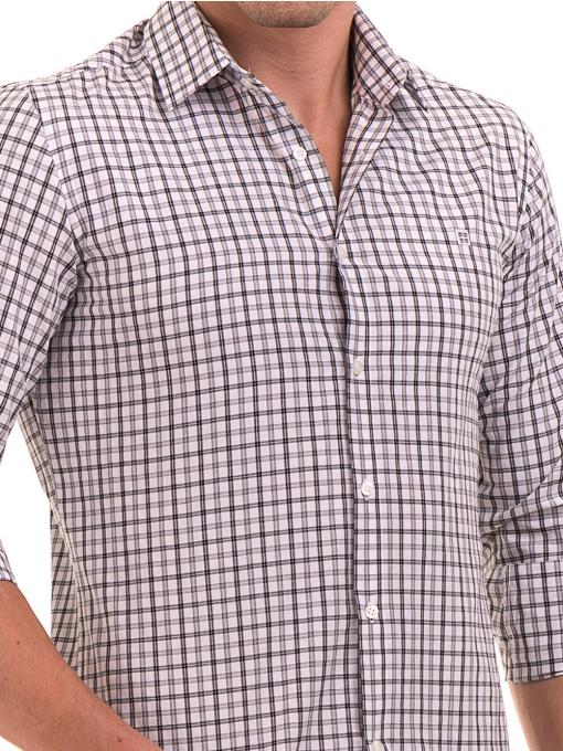 Мъжка карирана риза AVVA 2271 - светло сива D