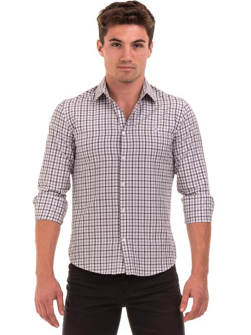 Мъжка карирана риза AVVA 2271 - светло сива