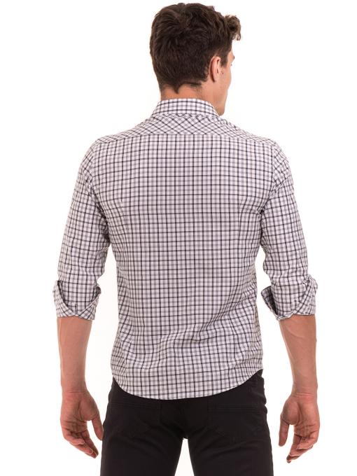 Мъжка карирана риза AVVA 2271 - светло сива B