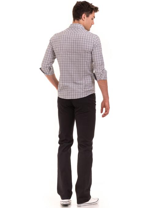 Мъжка карирана риза AVVA 2271 - светло сива E