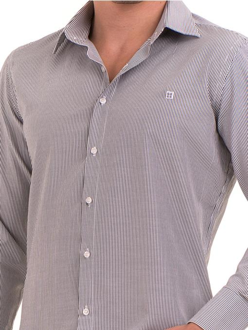 Мъжка фино раирана риза AVVA 2308 - сива D