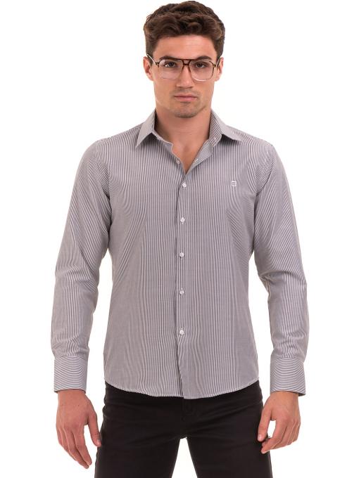 Мъжка фино раирана риза AVVA 2308 - сива