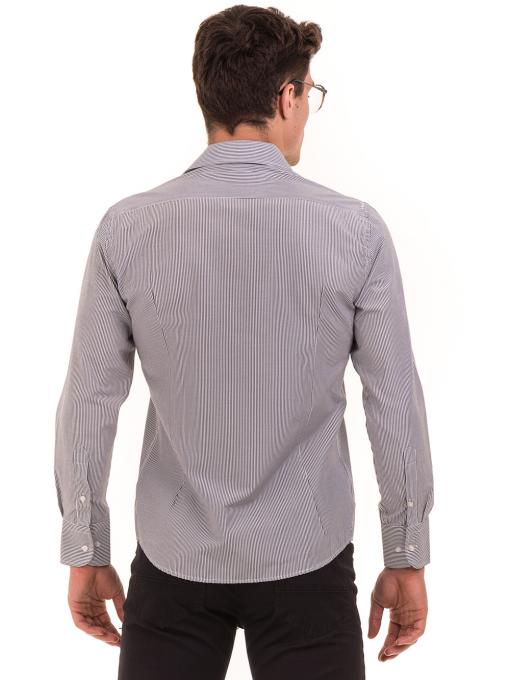Мъжка фино раирана риза AVVA 2308 - сива B