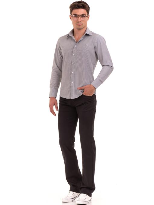 Мъжка фино раирана риза AVVA 2308 - сива C