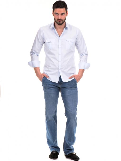 Класическа мъжка риза с два джоба AVVA 2420 - светло синя C