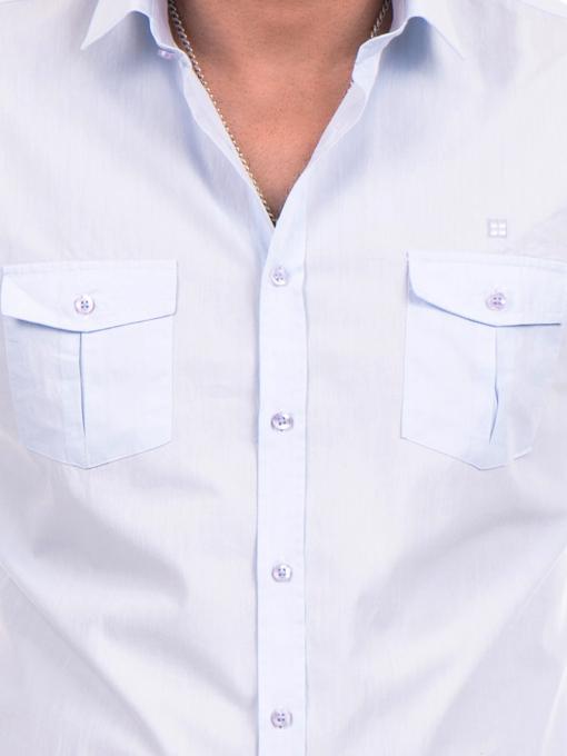 Класическа мъжка риза с два джоба AVVA 2420 - светло синя D