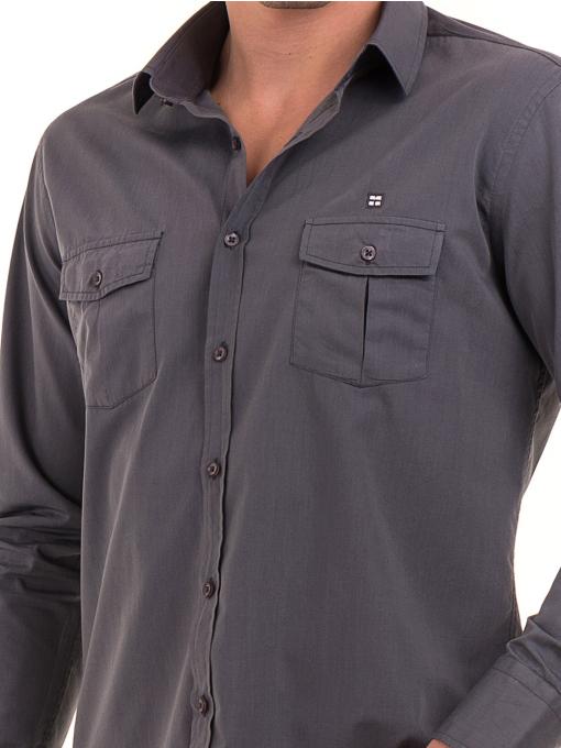 Класическа мъжка риза с два джоба AVVA 2420 - сива D