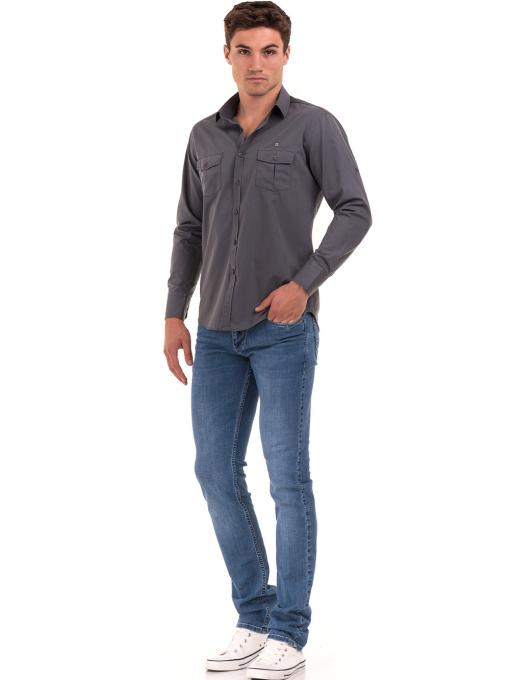 Класическа мъжка риза с два джоба AVVA 2420 - сива C