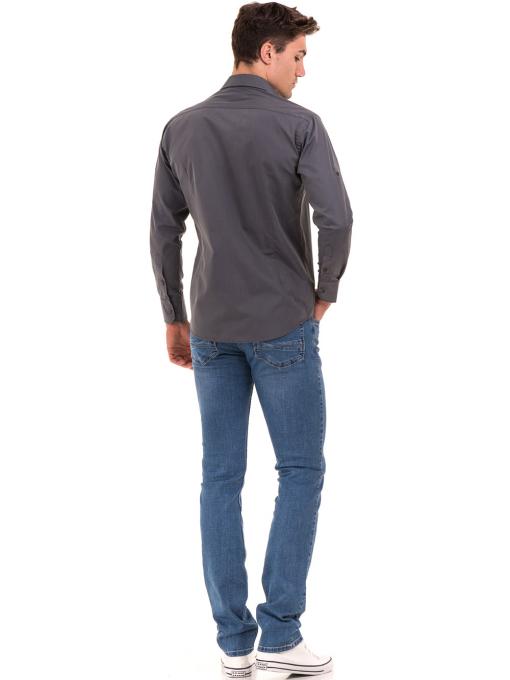 Класическа мъжка риза с два джоба AVVA 2420 - сива E