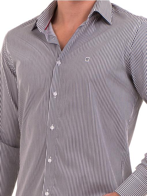Мъжка раирана риза AVVA 2521 - сива D