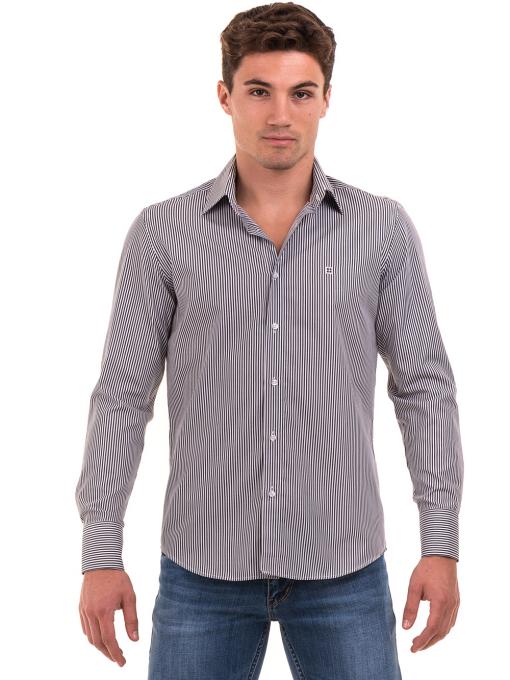 Мъжка раирана риза AVVA 2521 - сива