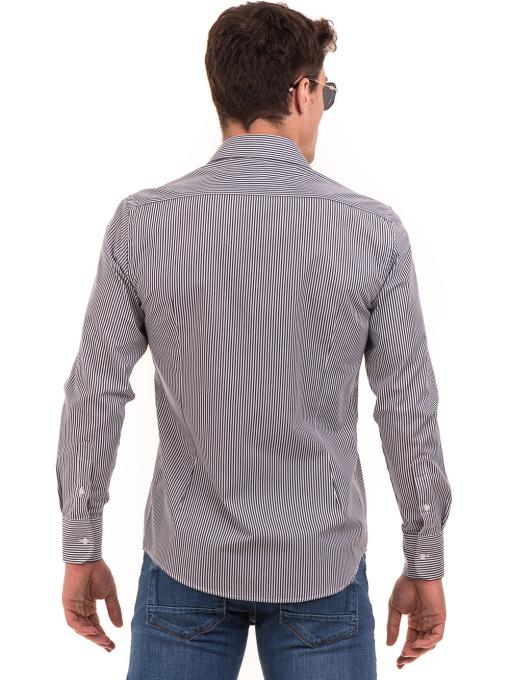 Мъжка раирана риза AVVA 2521 - сива B