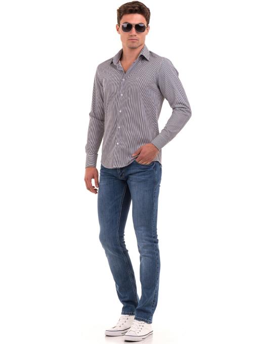 Мъжка раирана риза AVVA 2521 - сива C