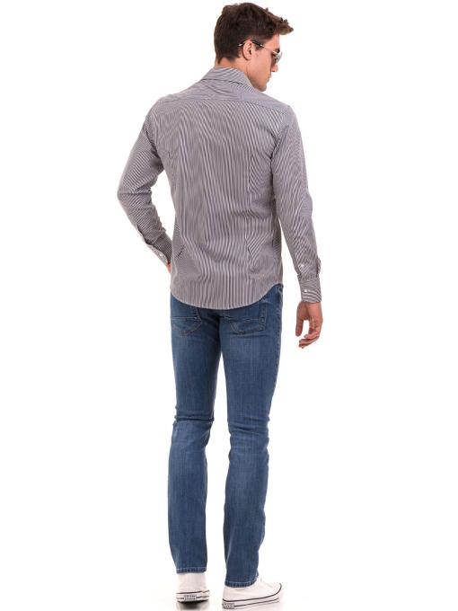 Мъжка раирана риза AVVA 2521 - сива E