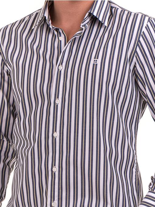 Вталена мъжка раирана риза AVVA 2615 - синя D