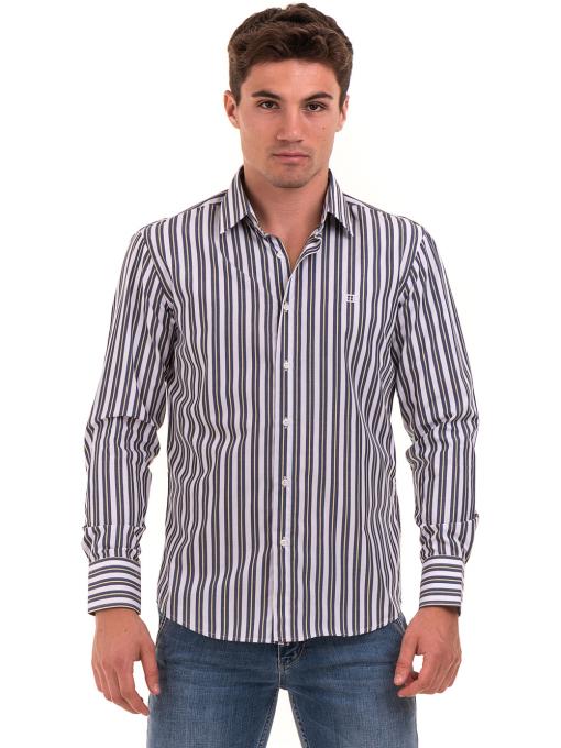 Вталена мъжка раирана риза AVVA 2615 - синя