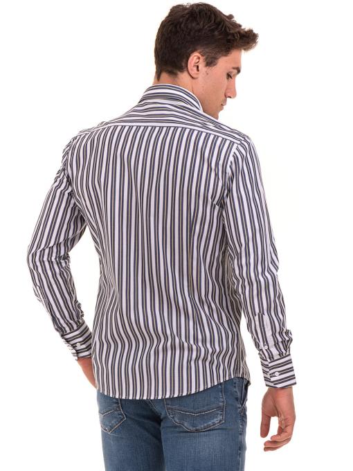 Вталена мъжка раирана риза AVVA 2615 - синя B