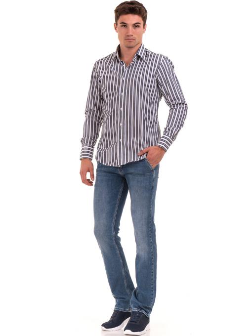 Вталена мъжка раирана риза AVVA 2615 - синя C
