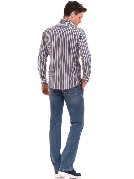 Вталена мъжка раирана риза AVVA 2615 - синя E