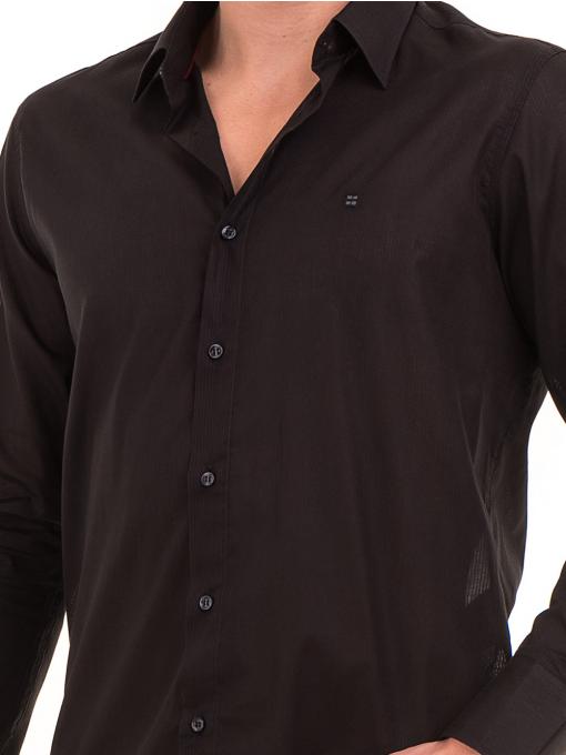 Едноцветна мъжка риза AVVA 2677 - черна D