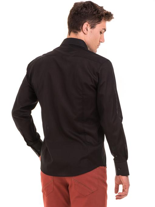 Едноцветна мъжка риза AVVA 2677 - черна B