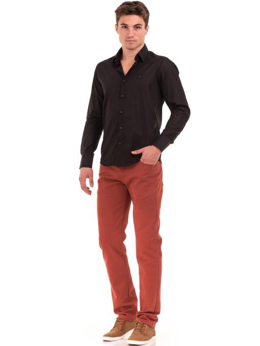 Едноцветна мъжка риза AVVA 2677 - черна C