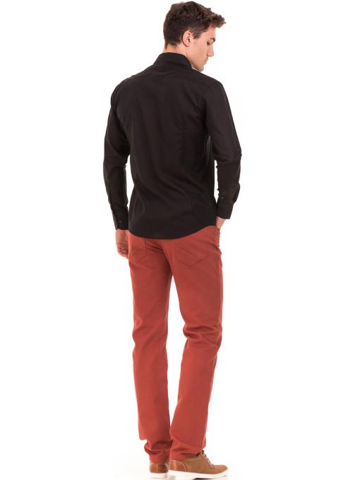 Едноцветна мъжка риза AVVA 2677 - черна E