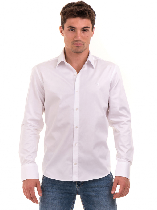 Вталена мъжка риза  AVVA 2693 - бяла