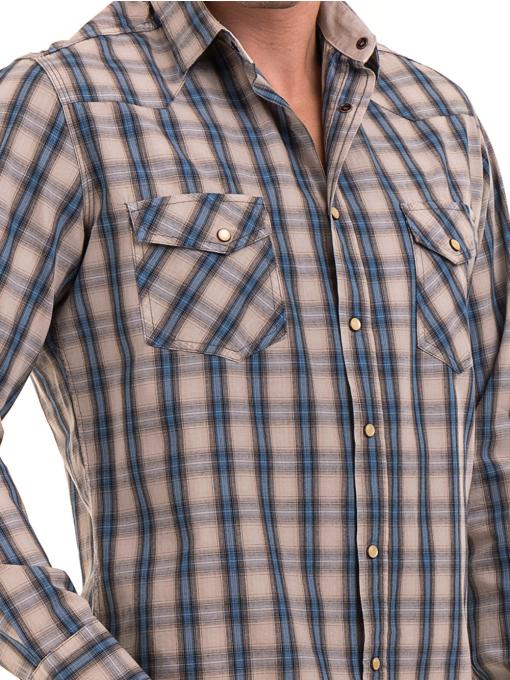 Мъжка свободна карирана риза BLUE PETROL 1542 - сива D