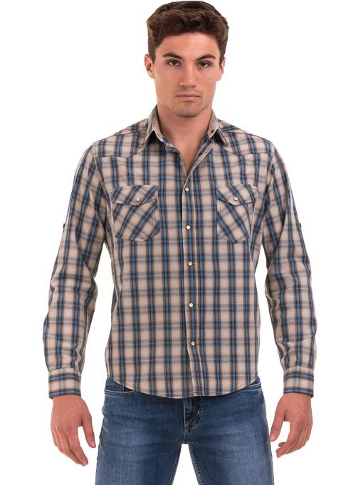 Мъжка свободна карирана риза BLUE PETROL 1542 - сива