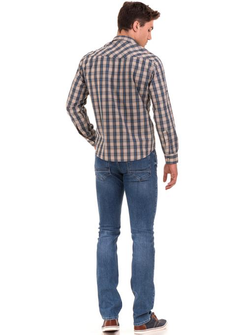 Мъжка свободна карирана риза BLUE PETROL 1542 - сива E