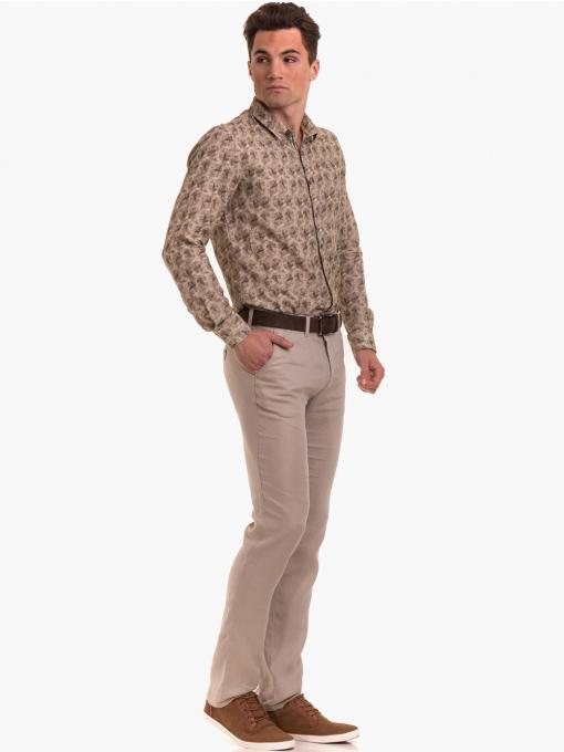 Класически мъжки ленен панталон XINT 484 - светло бежов C3