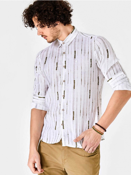 Ленена мъжка риза на зелени райета 700661 INDIGO Fashion