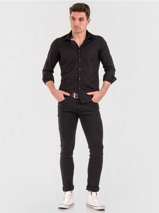 Памучна черна мъжка риза 700662 INDIGO Fashion