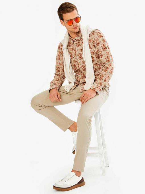 Бежова мъжка риза на цветя 700728 INDIGO Fashion