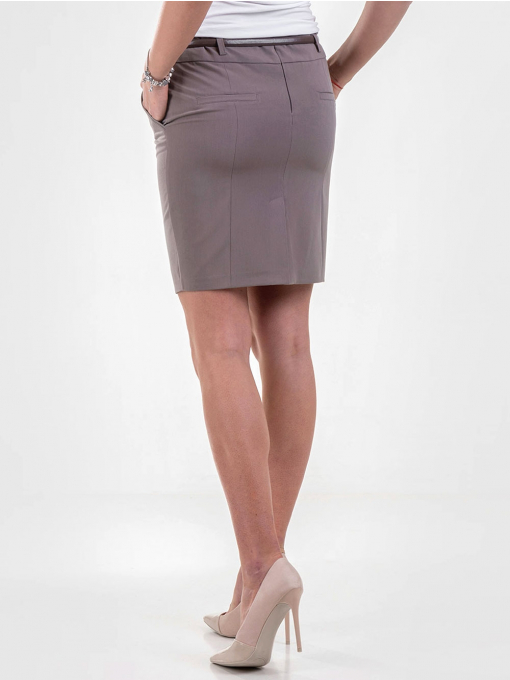 Елегантна пола F.L.M с колан - цвят капучино 205 INDIGO Fashion