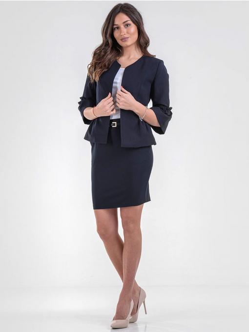 Елегантна пола F.L.M с колан - тъмно синя 205 INDIGO Fashion