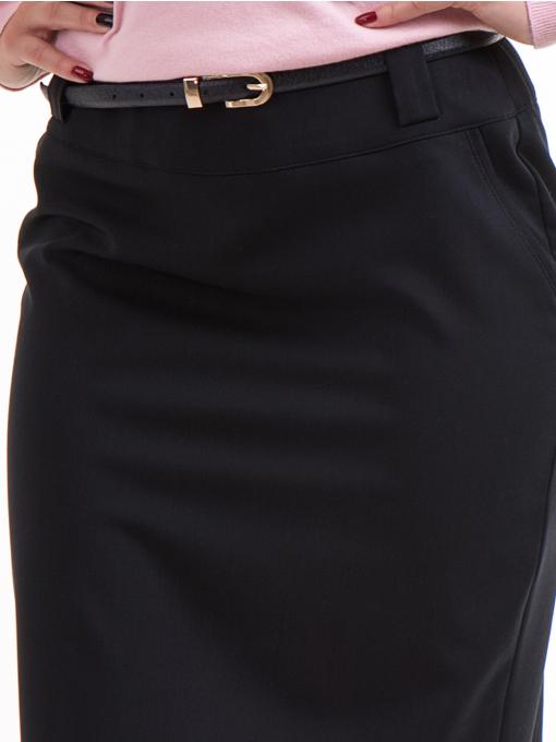 Елегантна пола F.L.M с колан и джоб 227 - тъмно синя D