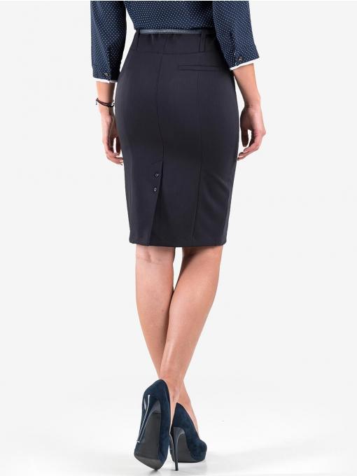 Пола с висока талия и колан F.L.M - тъмно синя 234 INDIGO Fashion
